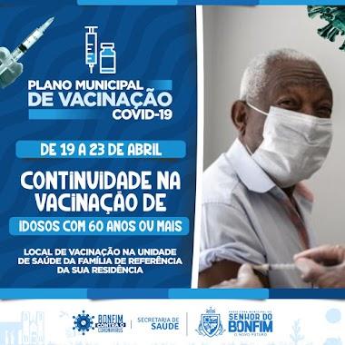 Secretaria de Saúde de Senhor do Bonfim retoma nesta segunda-feira (19), a vacinação dos idosos com 60 anos ou mais