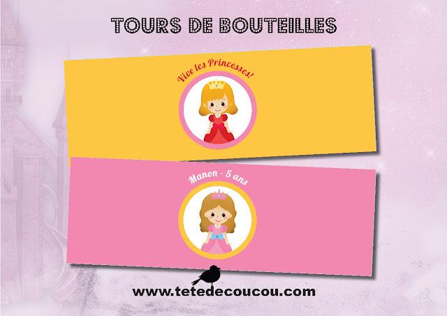 Tours de bouteilles Kit anniversaire personnalisé princesse fille rose à imprimer tête de coucou