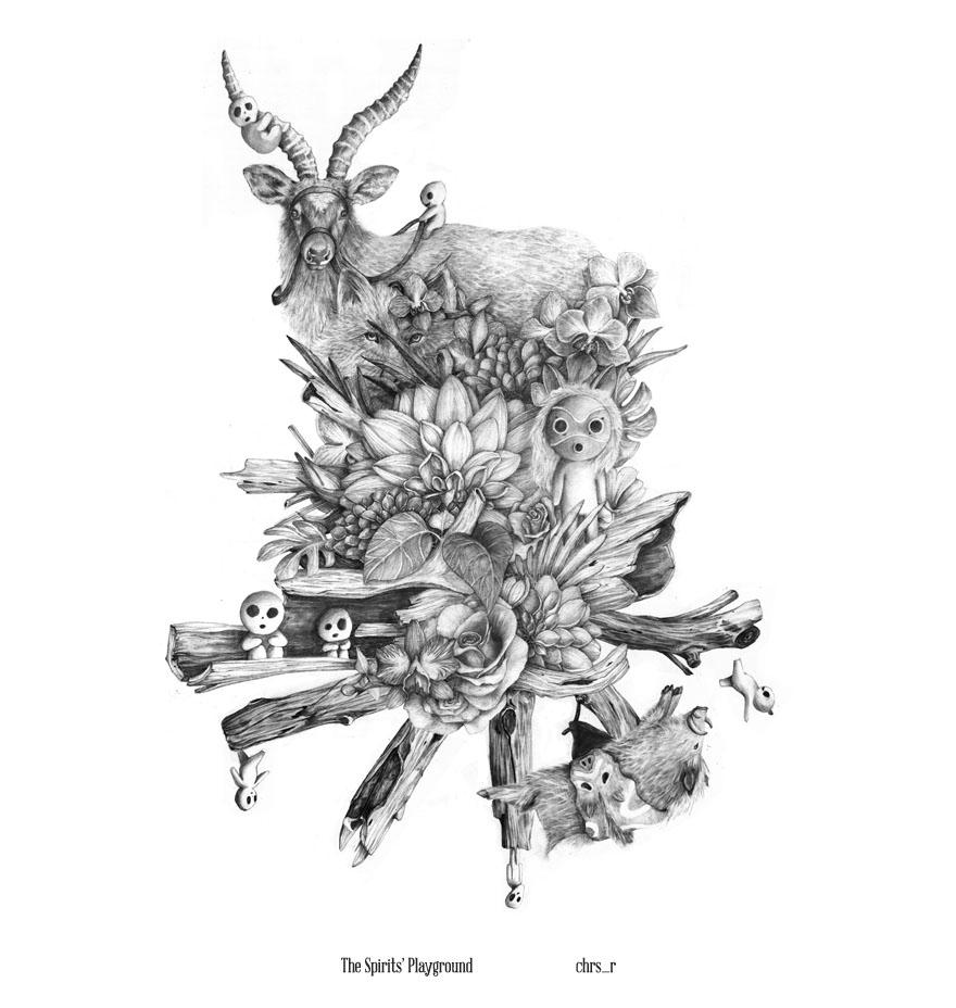 05-The-Spirits-Playground-Chris-R-Detailed-Drawings-Involving-Animals-www-designstack-co
