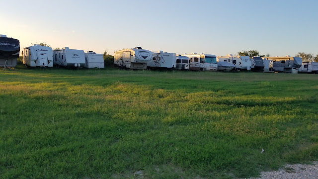 Rows of RV's in storage