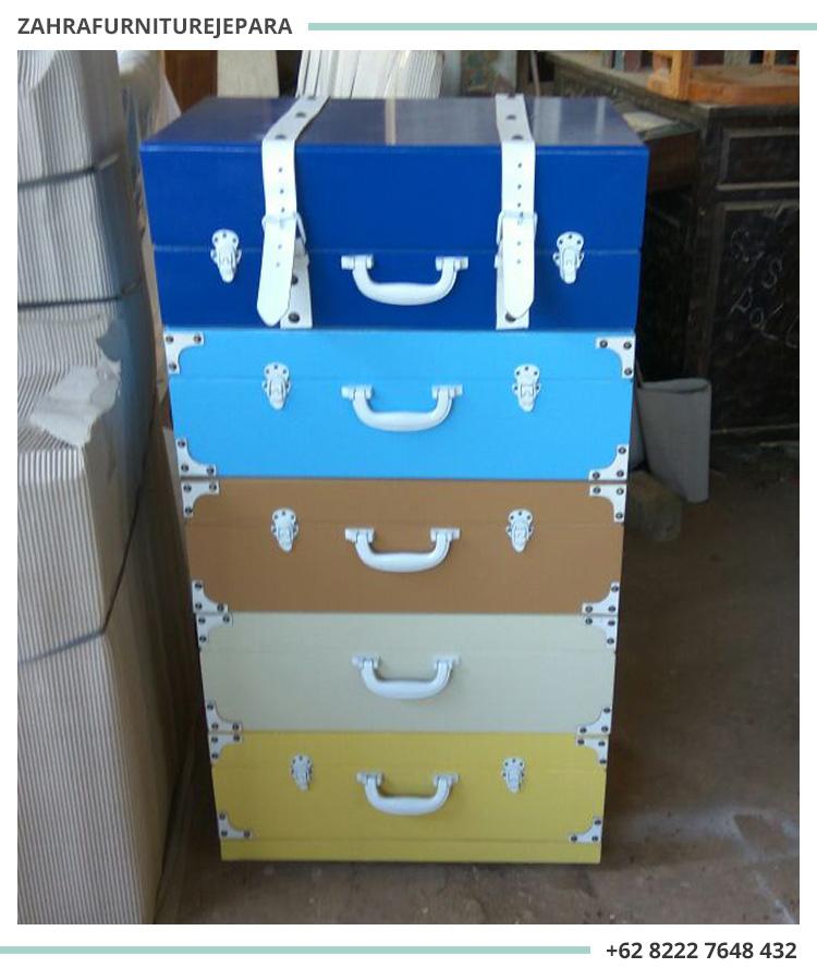 Jual lemari laci model koper vintage unik, Harga nakas koper / lemari laci koper vintage yang unik untuk dekorasi ruangan, Harga lemari 5 laci kayu, drawer unik harga murah