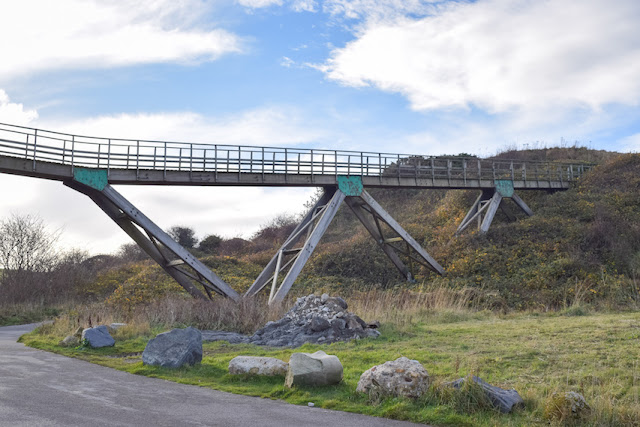 Walking Whitby to Sandsend - an old wooden bridge over the moorland