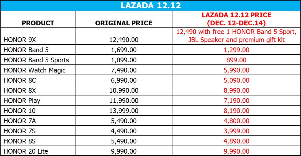 HONOR Lazada 12.12
