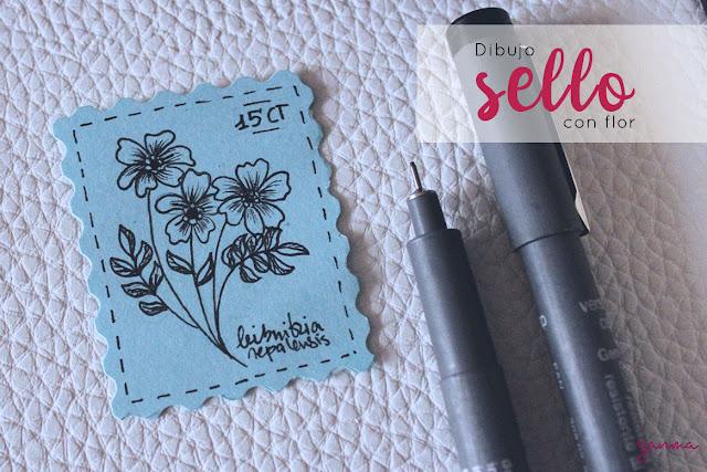 Pintando: sello con pequeña flor