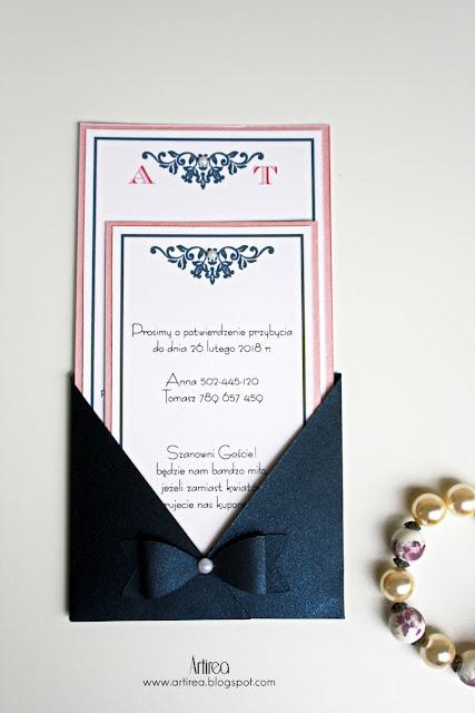 eleganckie granatowo rozowe zaproszenia slubne artirea oryginalne zaproszenia