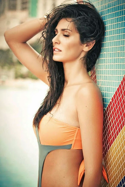 Bruna Abdullah in Orange Grey Bikini
