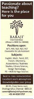 Babaji Vidhyashram Wanted NTT/PRT/TGT/PGT/PET Teachers