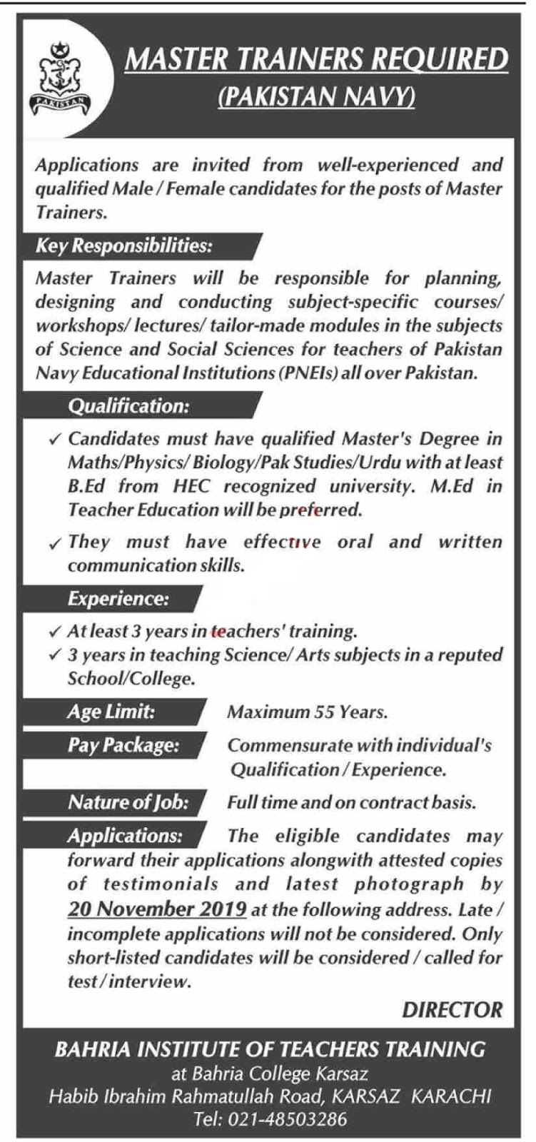 Pakistan Navy Jobs For Master Trainers in Karachi