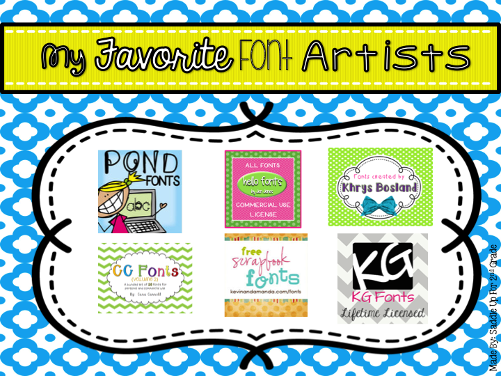 Commercial Font Artists to use in TPT Products by Saddle Up For 2nd Grade