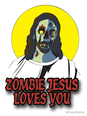 "ID: Artwork depicts Jesus with long hair and a beard, wearing white with a yellow halo. Jesus' skin is rendered to look like a zombie: green with bloody wounds, yellow, deep-set eyes, and a mouth in a snarl showing exposed, decaying teeth. The image is accompanied by the text, in a red, horror movie font ""ZOMBIE JESUS LOVES YOU."" The bottom right corner has the name of the artist, MrPeterRossiter."