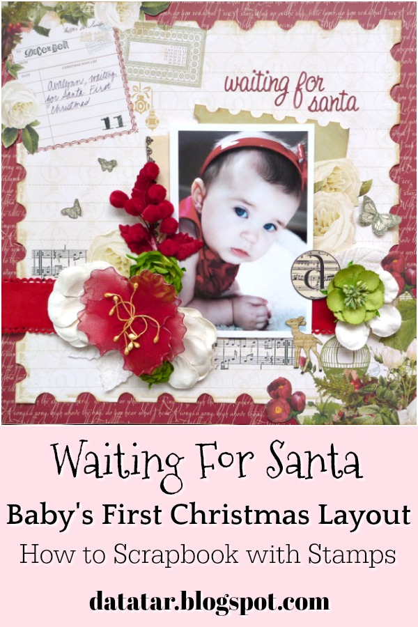 Red and Green Christmas Layout with Flowers, Stamped Music Notes, and Butterflies