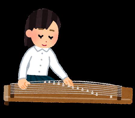 琴を演奏している人のイラスト(学生)