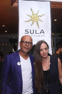 Cecilia Oldne, VP Marketing and Global Brand Ambassador, Sula Vineyards with Celebrity Fashion Designer, Narendra Kumar at Sula Selections 'Globe in a Glass' Roadshow 2016