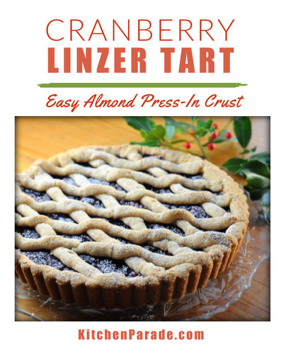 Cranberry Linzer Tart ♥ KitchenParade.com, an impressive European fruit tart, made easy with an almond press-in crust. No rolling!
