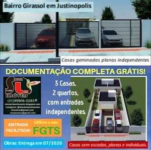 3 Casas geminadas. planas. independentes no bairro Girassol, Ribeirão das Neves, MG