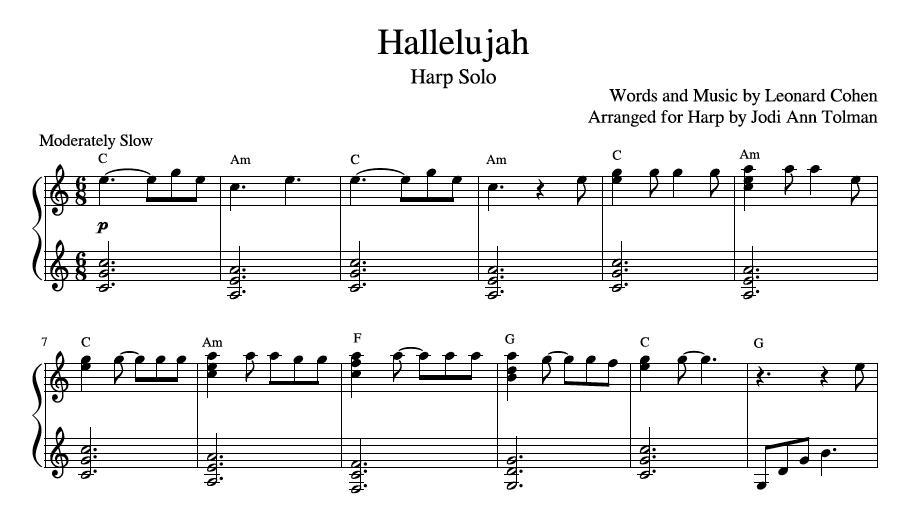 Hallelujah Harp Solo Music By Jodi Ann