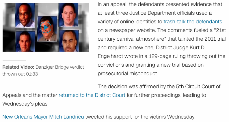 "prosecutorial misconduct A federal appeals-court judge has exposed ""bizarre,"" ""appalling,"" and ""grotesque"" misconduct by justice department officials against new orleans police officers."