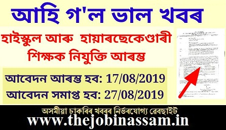 Assam High School and Higher Secondary Teacher Recruitment 2019