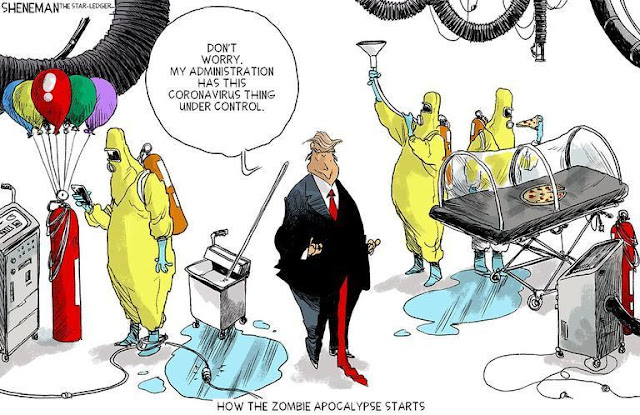 Cartoon showing a sloppily dressed Donald Trump in a Virus Lab, which has puddles of spilled substance on the floor, compressed air tanks with balloons attached, and a slop bucket with mop.