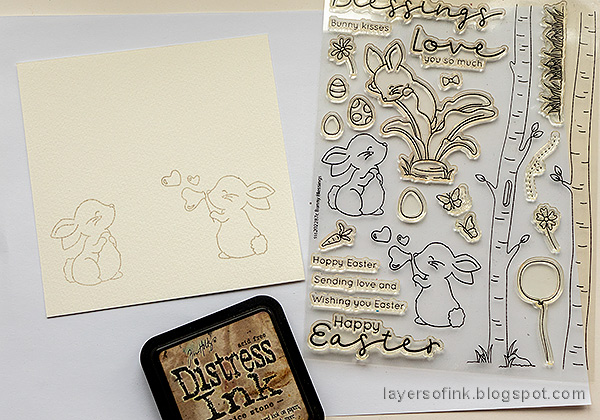 Layers of ink - Easter card with no-line coloring tutorial by Anna-Karin Evaldsson. Stamp Simon Says Stamp Bunny Blessings.