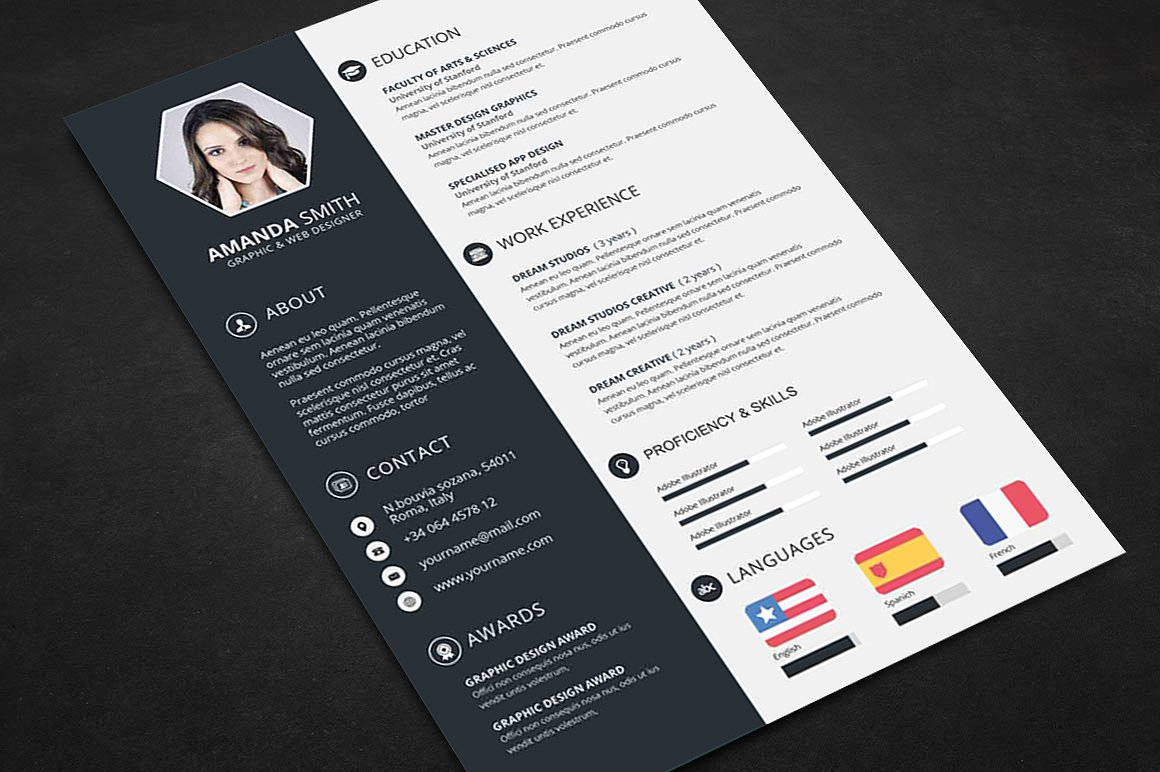 Resume Psd Template Creative Resume Cv Template With Cover Letter And