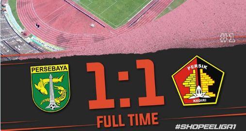 Persebaya vs Persik Imbang 1-1, Madura Bantai Barito 4-0