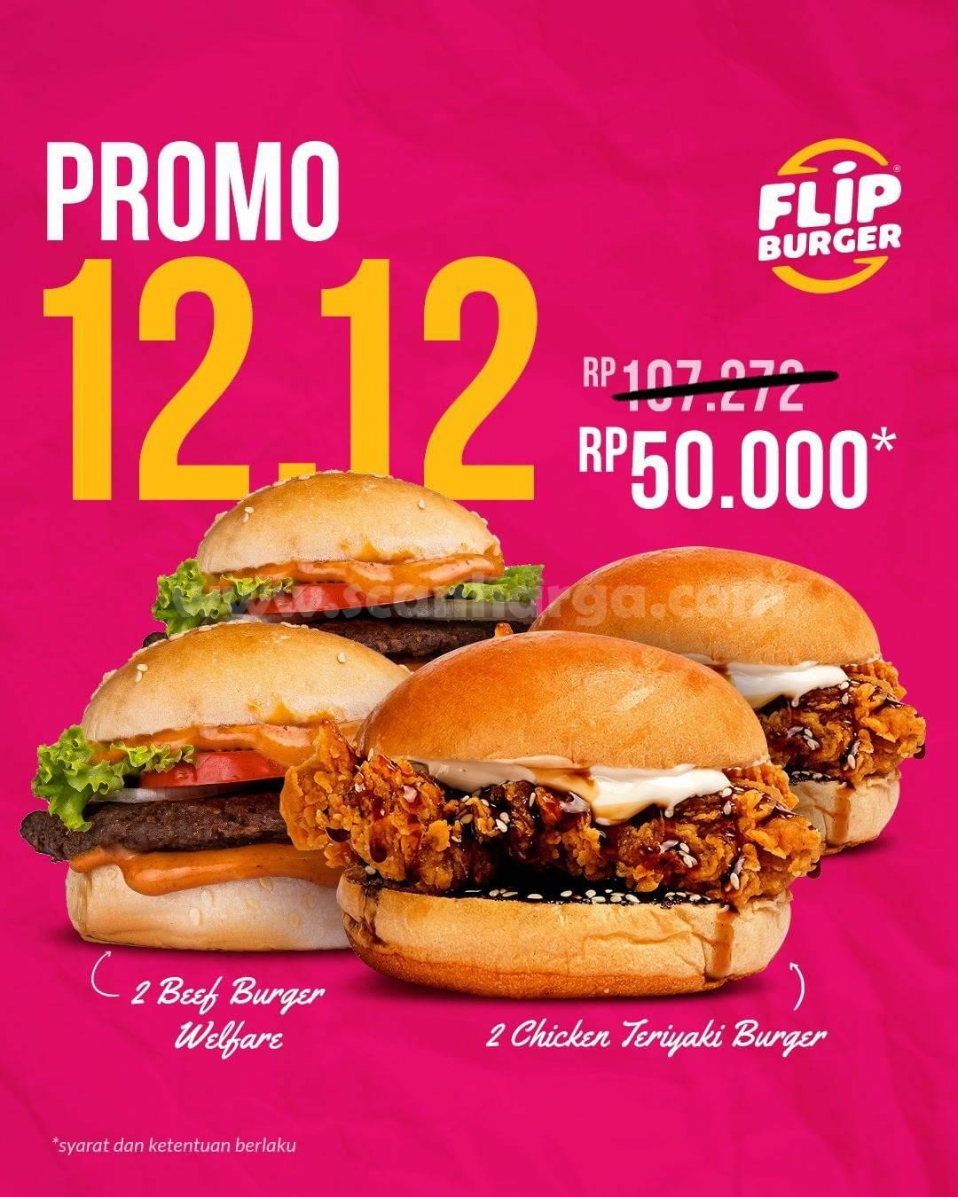 Flip Burger Promo 12.12 – 2 Beef Burger + 2 Chicken Teriyaki hanya Rp 50.000