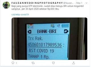 Coba Cek Rekening Masing-masing, Geger Pengguna BRI Tiba-tiba Dikirim Bantuan Covid-19 Rp 600.000 dari Pemerintah, Benarkah?