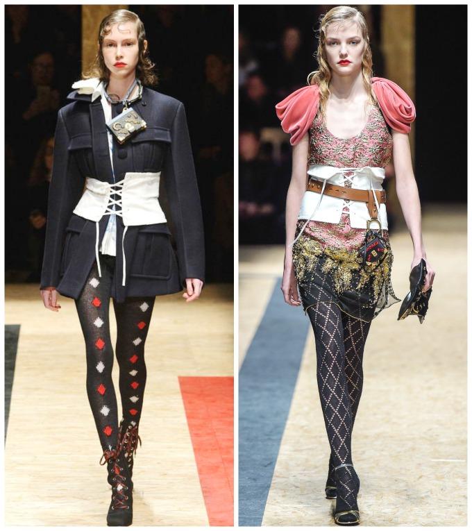corsets de tela con cintas de Prada