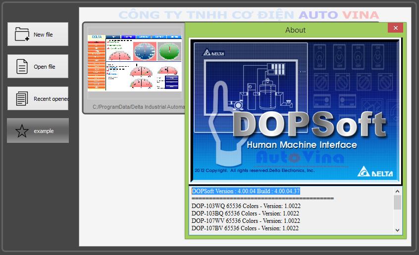 Phần mềm lập trình HMI Delta DOP-100 Series DOPSoft V4.00.04.37