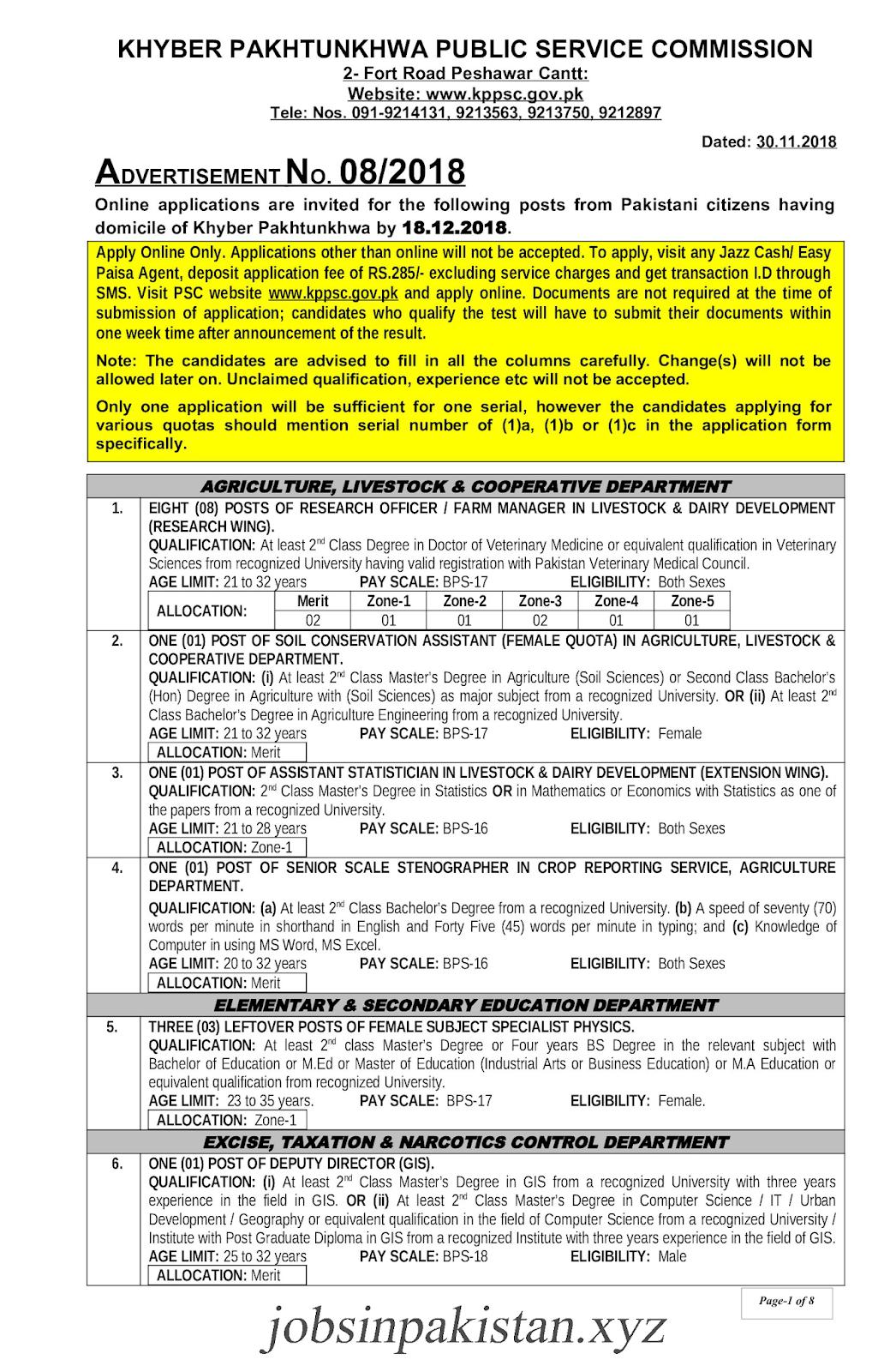 KPPSC Advertisement 08/2018 Page No. 1/8