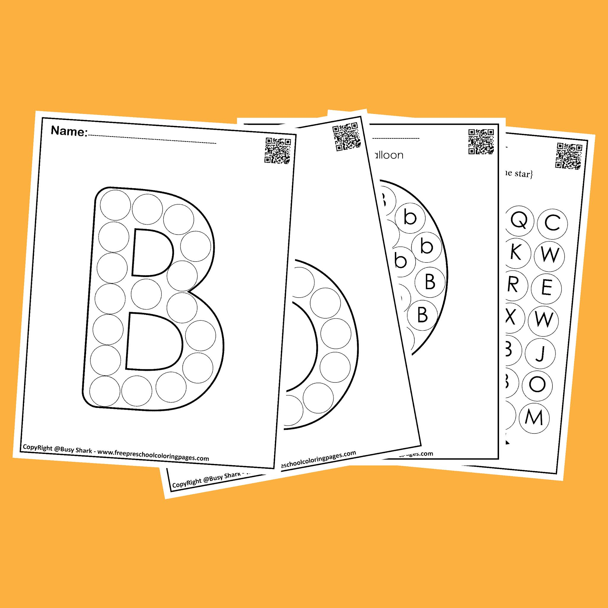 Letter B 10 Free Dot Markers Coloring Pages