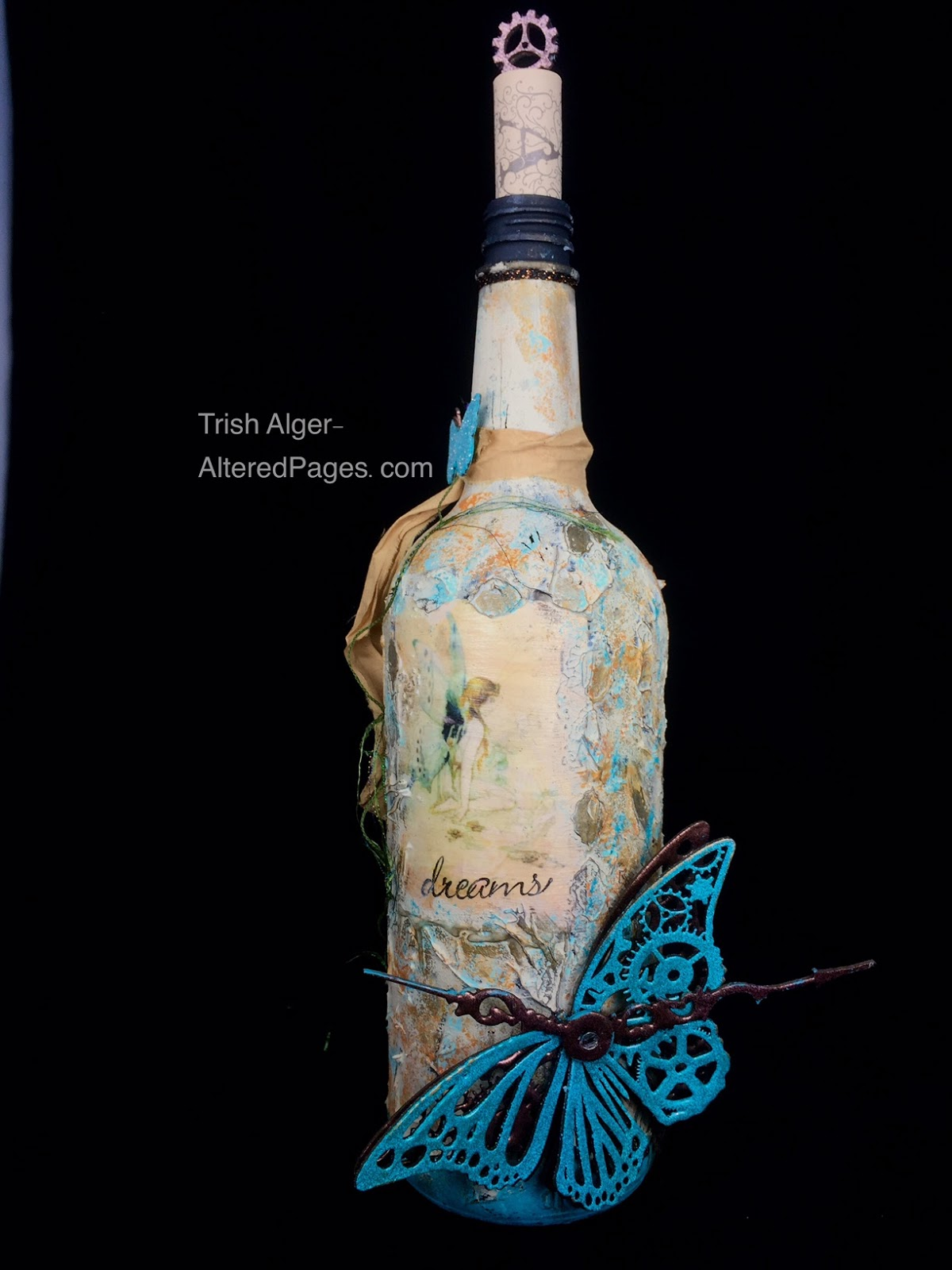 Repurposed Altered Wine Bottle Romantic Steampunk Recycled Upcycled