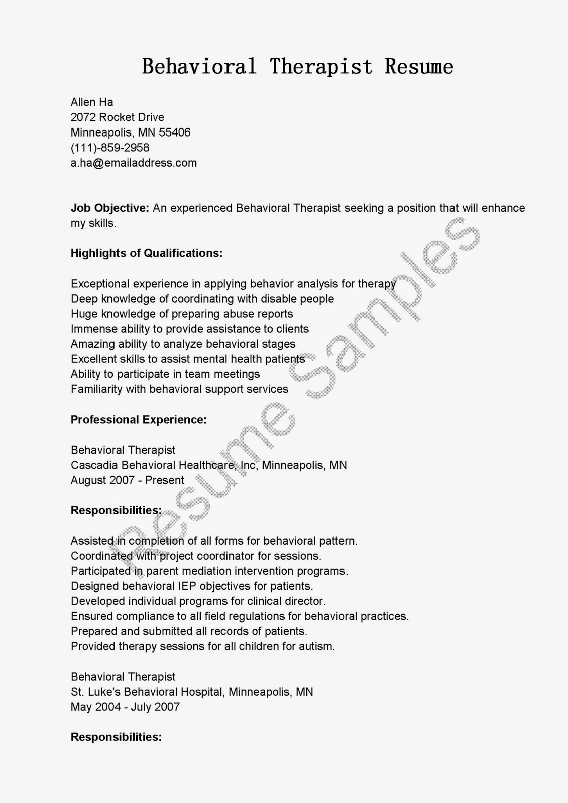 resume samples  behavioral therapist resume sample