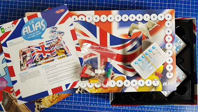 UK ALIAS Family Board Game Review Box contents featuring union jack design