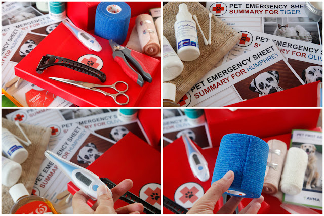 Adding supplies to a household first aid kit for pets