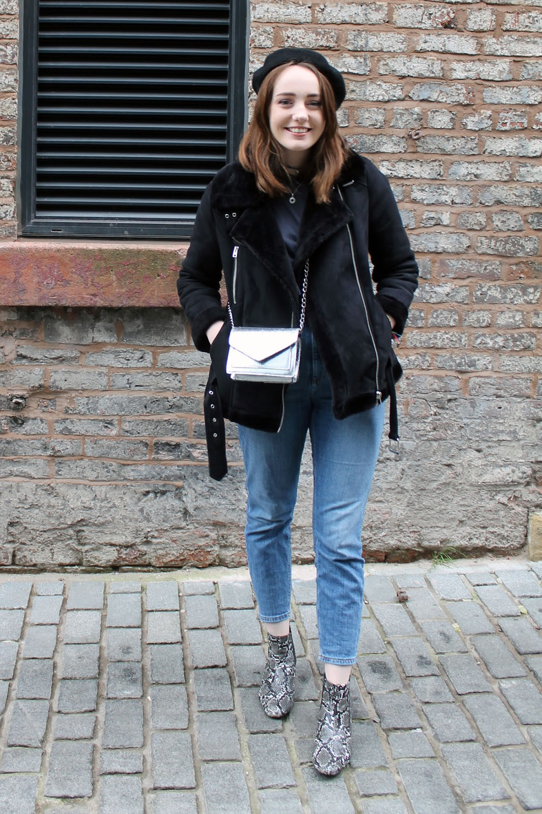 Liverpool fashion blogger, black beret and grey ruffle top, topshop biker coat, silver box bag, ASOS farleigh jeans and snake print boots