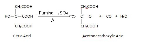 citric acid eaction with fuming H2SO4.