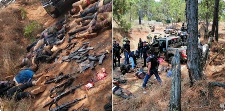 """FOTOS, Sicarios empecherados de """"Los Viagras"""" madrugan y ejecutan a 9 del CJNG, los emboscan en Uruapan, Michoacán."""