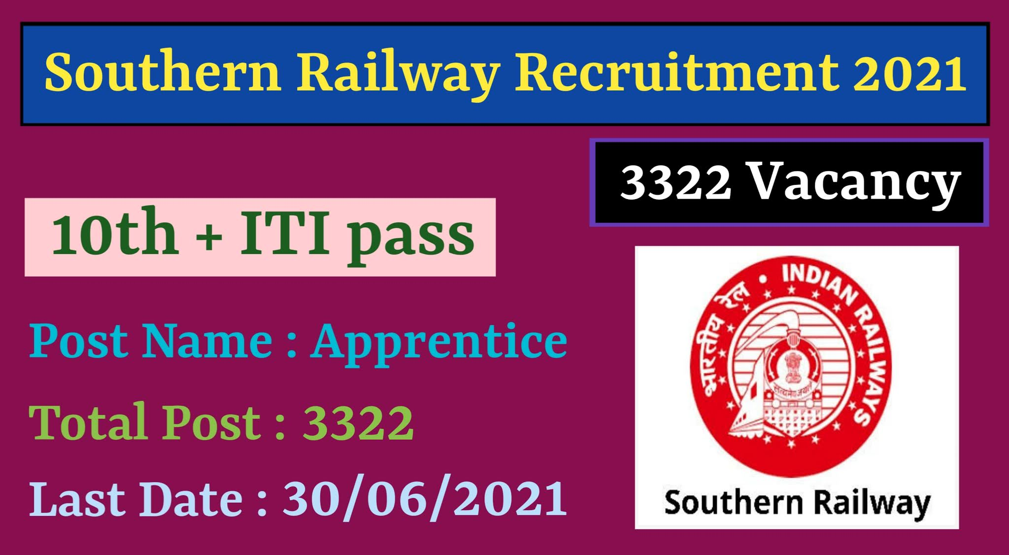 Southern Railway Recruitment 3591 Apprentices post 2021 | Southern Railway Recruitment 2021 | Apply Online Southern Railway 3591 Apprentices post | Southern Railway Apprentice Recruitment 2021 | Southern Railway Apprentice Notification 2021 | Southern Railway Apprentice Vacancy 2021 |  Southern Railway Apprentice Selection Process