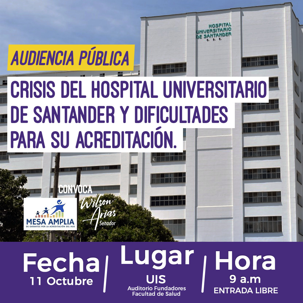 Urgente rescatar el Hospital Universitario de Santander: Wilson Arias