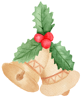 This is a holiday icon of bells with mistletoe.