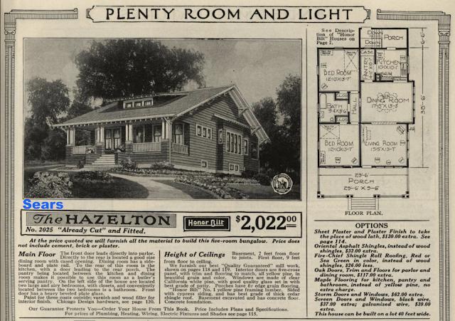 catalog image of the Sears Hazelton, 1921 catalog