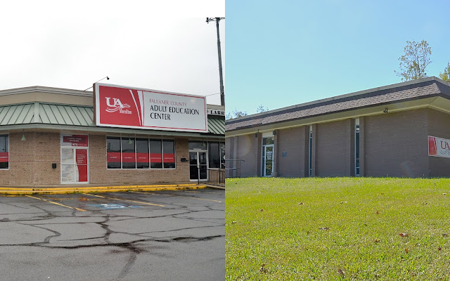 Split image with the two adult education centers on either side. Faulkner county's on the left and Van Buren county's on the right.