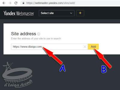 ketik alamat situs atau blog, lalu klik Add