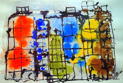 An Abstract art painting depicting apartment blocks covered in a snowstorm.