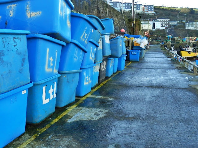 Boxes for fish at Mevagissey, Cornwall