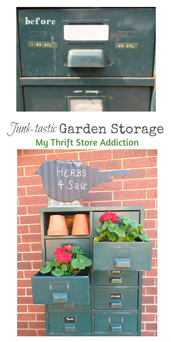 Friday's Find #137 mythriftstoreaddiction.blogspot.com Repurpose vintage file drawer as garden storage!