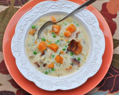 Turkey Sweet Potato Soup ♥ KitchenParade.com, a healthy colorful soup made with sweet potatoes and leftover turkey.