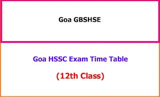 Goa HSSC 12th Class Supply Exam Time Table 2021